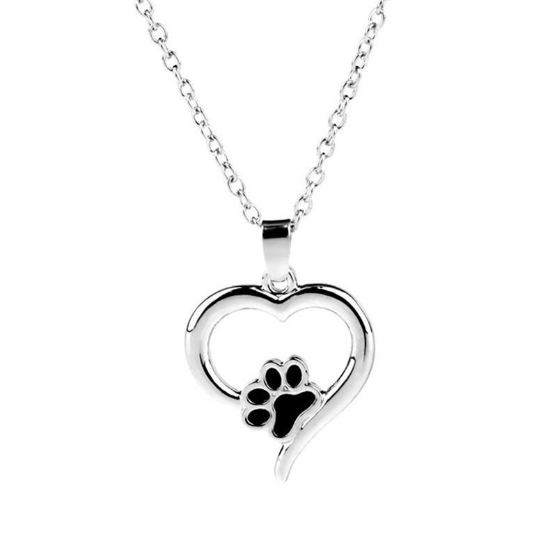 Hollow Pet Paw Print Necklaces Cute Animal Dog cat Memorial jewelry Pet Lover Puppy Paw Heart Charm Black Enamel Necklace Girls