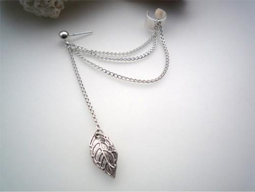 Orecchini gioielli moda oro / argento placcato foglia foglia nappa orecchini gioielli personalità elegante orecchio polsino 1 pezzo trasporto di goccia ER575