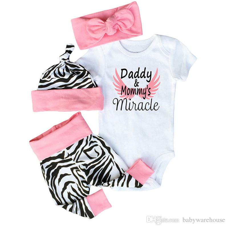6df908136 Baby Girl Clothes Set Toddler Clothing Cotton Romper + Zebra Pants + Hat +  Bow Headband 4PCS Daddy & Mommy's Miracle Kids Girls Outfits