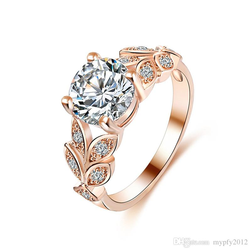 rose gold wedding rings for women 2018 new fashion women engagement rings gold white 7125