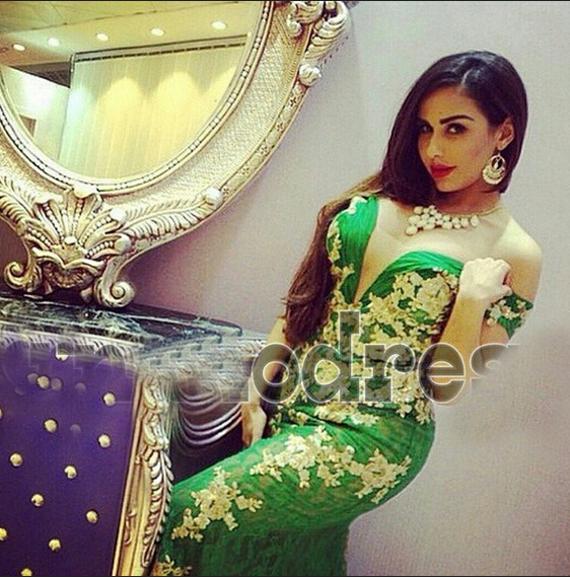 2015 groene prom jurken zeemeermin kant pure off schouder gouden appliques vloer length avondjurken Dhyz 01