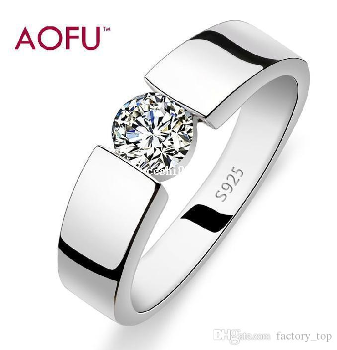 Aofu Brand925 Stamp Silver 3 Layers Of Platinum AAA Grade Crystal Christmas Gift Man Woman Rings Wedding Ring Setting Women Jewelry