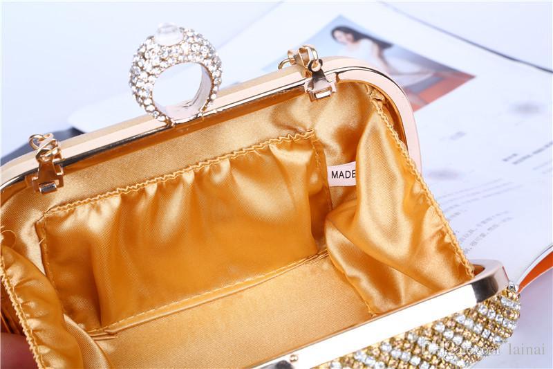 Fabbrica diretta / Retaill / All'ingrosso borsa da sera con diamante unico / clutch con raso / PU matrimonio / banchetto / party / porm