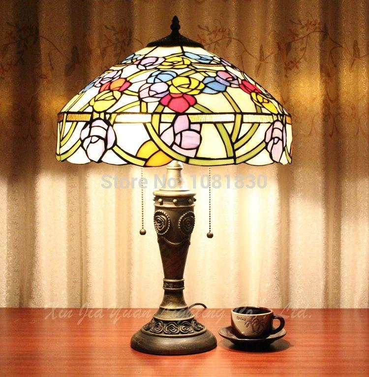 2017 Tiffany Table Lamps Wholesale 40cm European Classical Decorative  Colored Glass Lampshades Handmade Wrought Iron Lamps New From Dhlight, ...