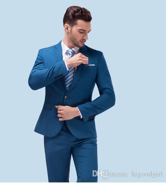 Custom Made Dark Blue Men Suit, Tailor Made Suit, Bespoke Light Navy Blue  Wedding Suits For Men, Slim Fit Groom Tuxedos For Men Tuxedos For Toddlers  Wedding ...
