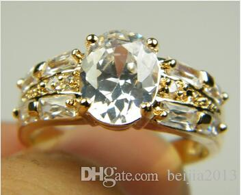 Lüks 18 k Katı Sarı Altın kaplama kristal Zirkon Taş Yüzük Altın nişan düğün severler çift Yüzük, Ücretsiz Nakliye Toptan