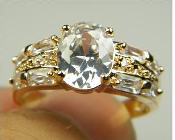 Lujo 18k sólido oro amarillo plateado anillo par los amantes de la boda de cristal de circón de la piedra preciosa del anillo de oro de compromiso, envío libre