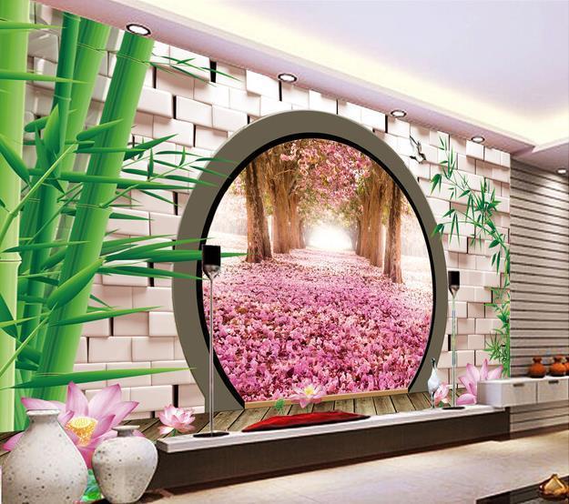 Custom Photo Wallpaper 3d Stereoscopic Spring Green Leaves Circle ...