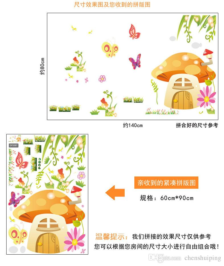 2015 New Removable Cartoon Mushrooms Butterfly Wall Stickers Home Decorative Wall Decal Home Decoration Wall Art kindergarten Wall Stickers