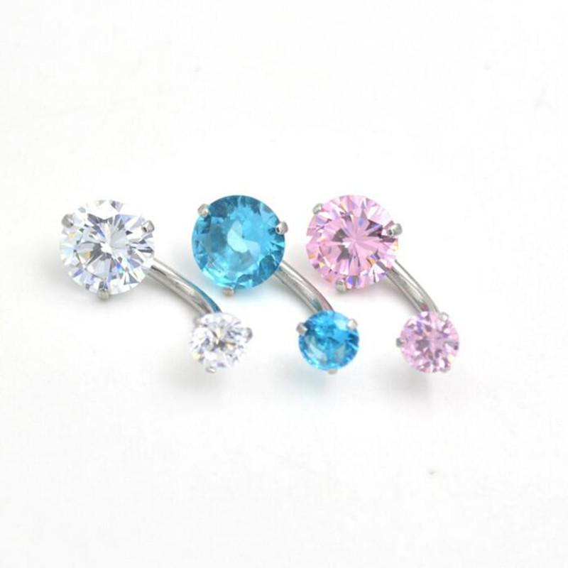 MODA JOYAS New round Zircon Jeweled Style Belly Button Ring Body Piercing Jewelry Navel Piercing 316L Stainless steel