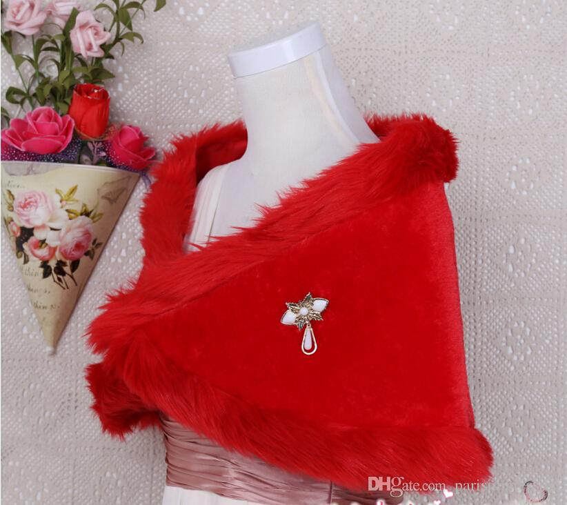 Red Winter Bridal Wraps Warm Soft Faux Fur Shrug Shawl White Bride Prom Party Bridal Women Bolero With Brooch