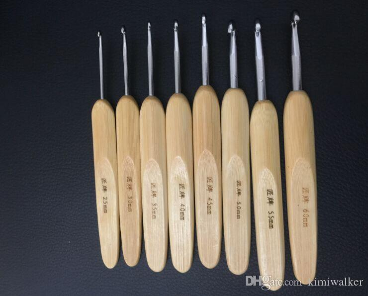 bamboo handle hook needle set ssat hook sweater needle yarn cottiers knitting needles, knitting tools crochet hooks set