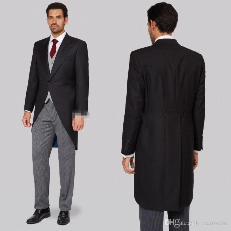 New Design Tailcoat Wedding Tuxedos Slim Fit Suits For Men Groomsmen Suit Cheap Prom Formal Suits (Jacket +Pants+Vest)