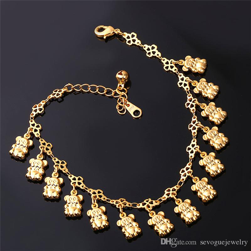 U7 Women's 2015 Hot Happy Cute Bear Anklet 18K Real Gold/ Platinum Plated Unique Foot Bracelet Fashion Jewelry Free Shiopping 7-A929