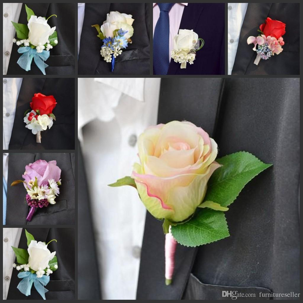 Romantic Wedding Decoraitve Boutonnieres Elegant Artificial Rose
