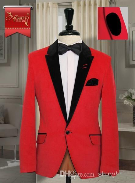 Slim Fit Red Men Suits Black Peak Lapel Groom Wedding Tuxedos ...