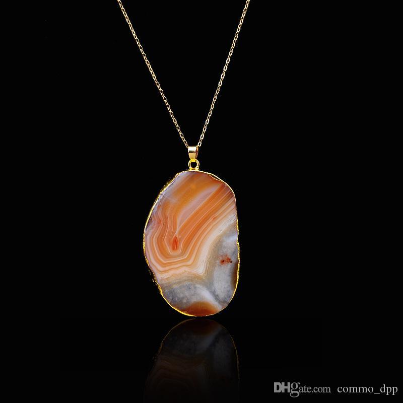 Nuevo Cristal de Cuarzo Natural Piedras collares Piedras geométricas Líneas de corte Druzy Curación collar colgante Para las mujeres joyería de moda