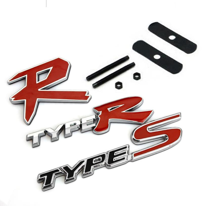 2018 3d typer type r racing emblem badge logo decal sticker stickers types type s metal front grill grille badge emblem for honda kia from lin06