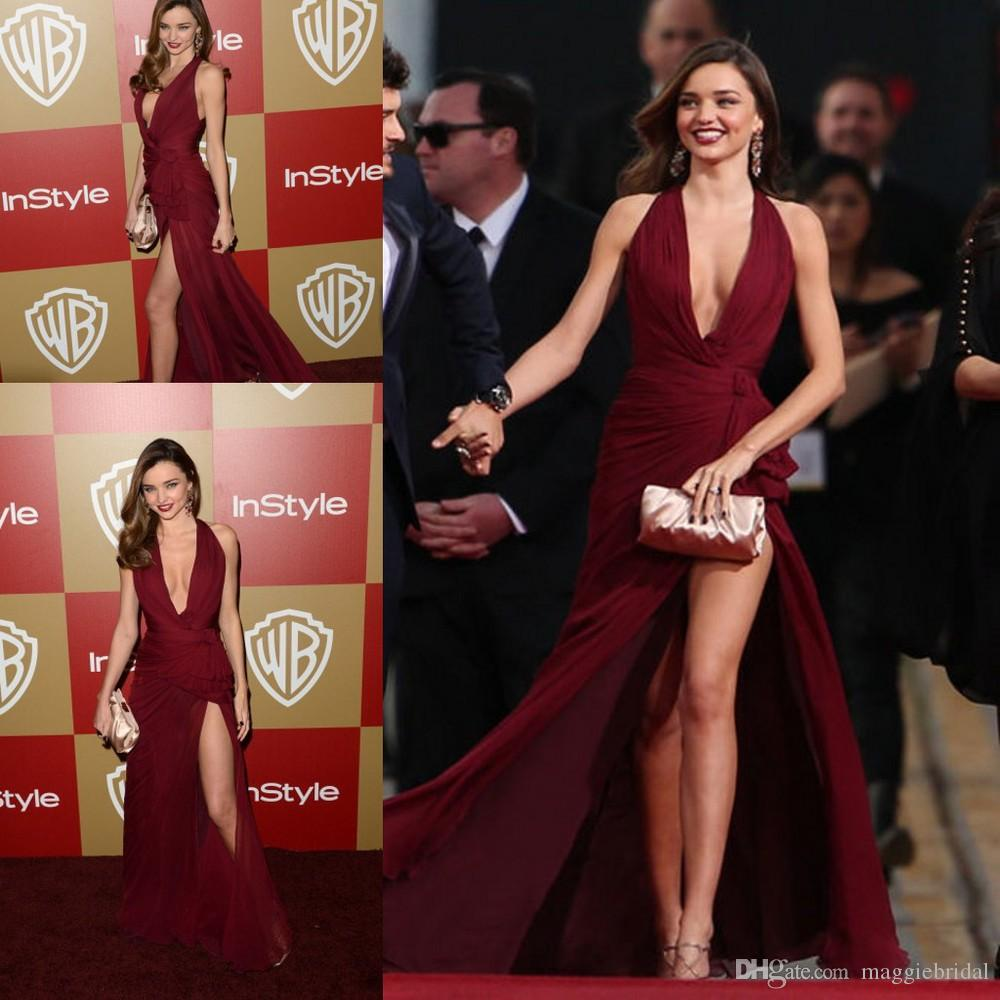 b617f6a528 Charming Burgundy Sexy Deep V Neck Long Prom Evening Dresses 2016 Halter  Backless Robe De Soiree Celebrity Dress Wiith Side Split Canada 2019 From  ...