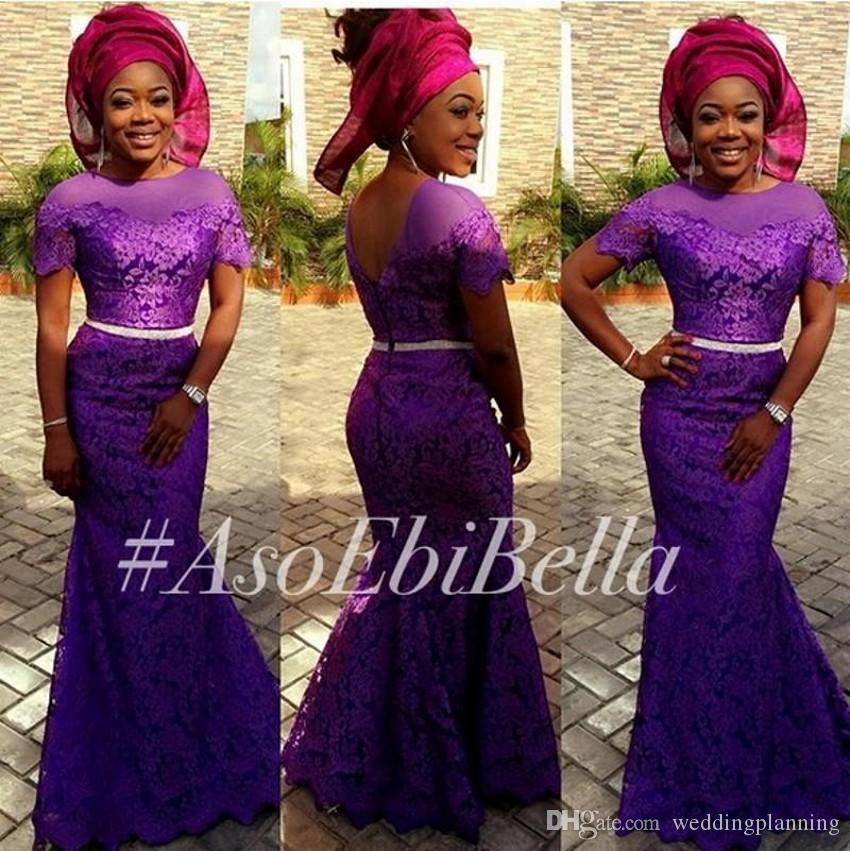 Purple Aso Ebi Styles Lace Evening Dresses Bella Naija Traditional Formal Party Gowns Mermaid Short Sleeve Formal Plus Size Party Dresses