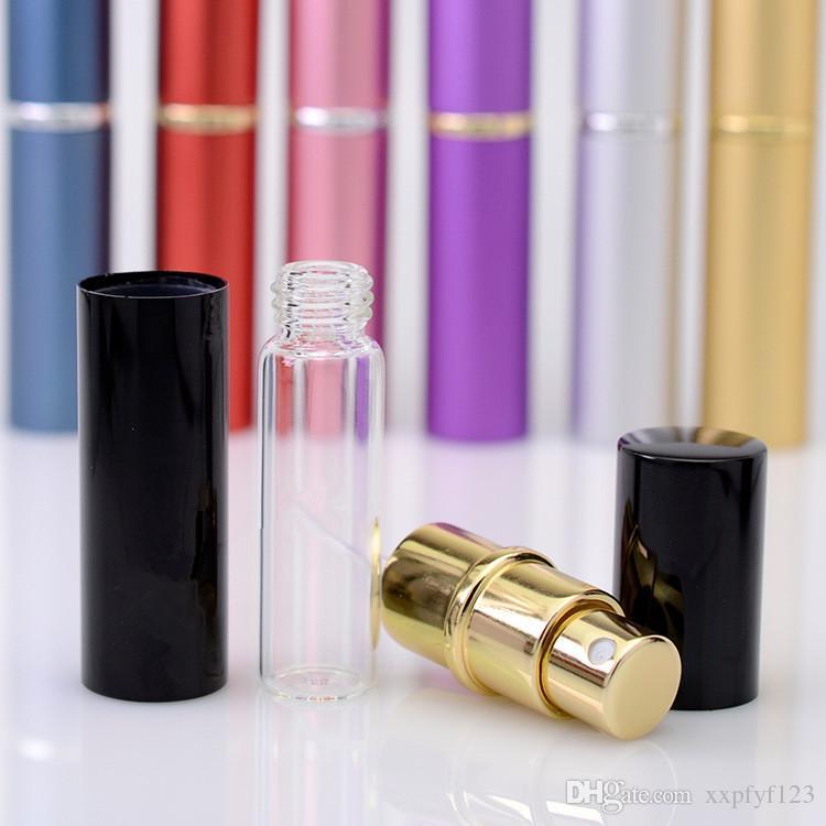 향수 병 5ml 알루미늄 알루마이트 소형 스프레이 애프터 셰 이브 분무기 분무기 향기 유리 향기 병 혼합 색상