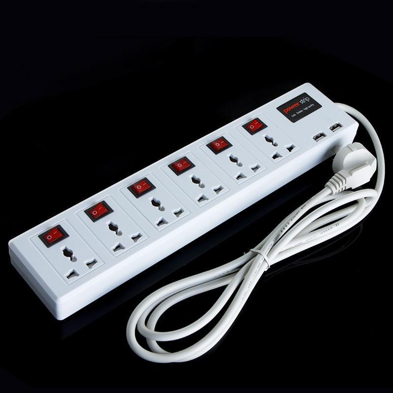 Chaude 6 Sortie Universelle 2 Port USB Chargeur Power Strip Surtension Protecteur Disjoncteur 2500 W Livraison gratuite