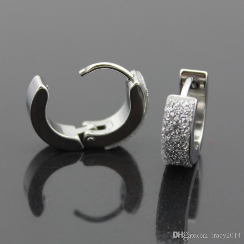 316L титана стали серьги для мужчин черный и серебряный цвет скраб серьги из нержавеющей стали уха пряжка с Кристалл
