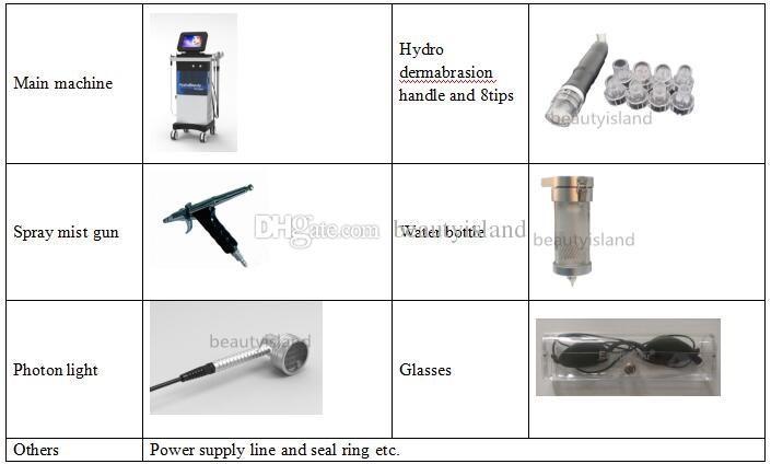 Hydrafacial hydro dermabrasion 물 Dermabrasion 산소 제트 필링 PDT LED 바이오 라이트 테라피 히드라 페이셜 기계 피부 회춘에 대 한
