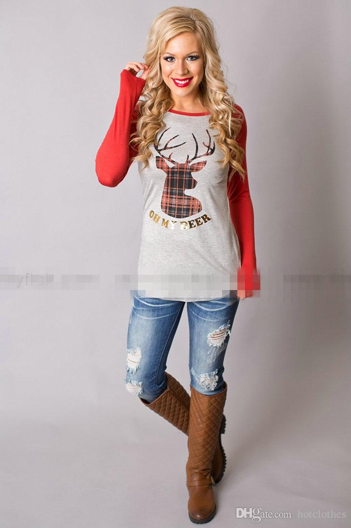 Christmas T Shirts for Women Elk Deer Head Printed Shirts Tops for Women Plus Size Women Clothing Tees Casual Blouse Long Sleeve Shirts