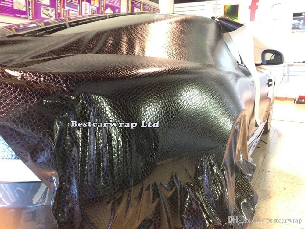 أسود الأفعى الجلد الفينيل التفاف مع الهواء الإصدار الأفعى الملمس التفاف سيارة التفاف السينمائي لسيارة التصميم الجلد فيلم شحن مجاني حجم 1.52x30 متر / لفة