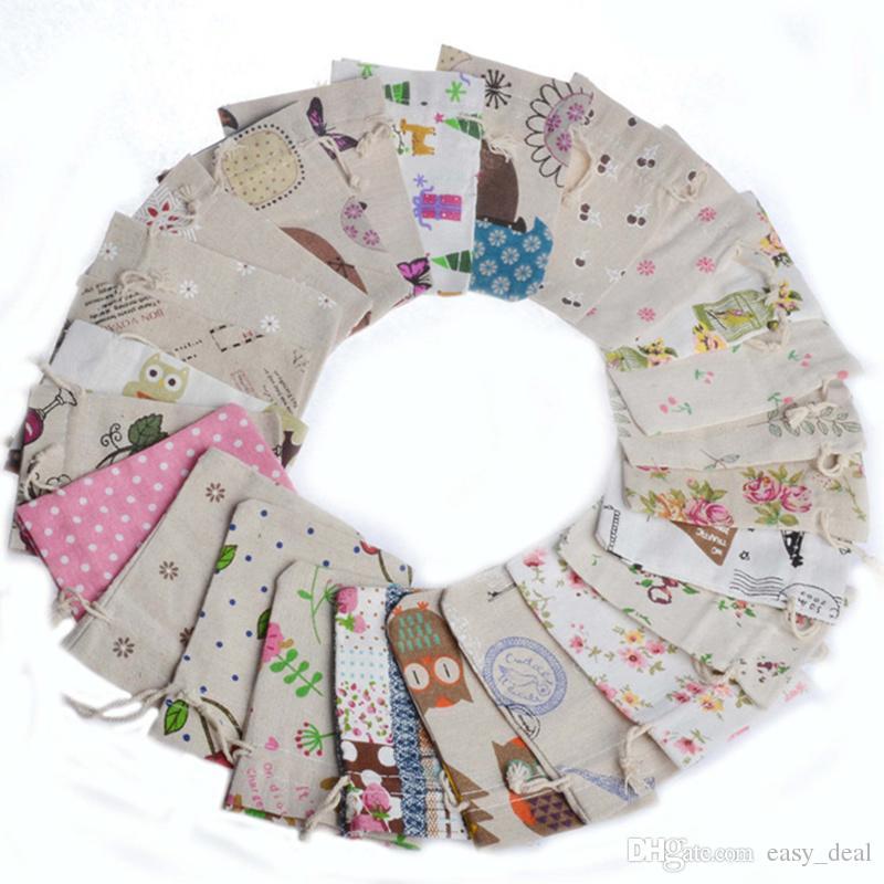 أكياس نمط خمر اليدوية كيس الجوت الرباط أكياس هدية لحفل الزفاف / عيد الميلاد أكياس الكتان الحقيبة التغليف F20172665