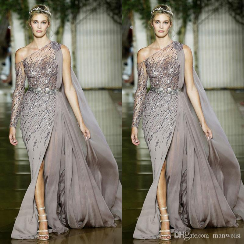 6f6c47877e41 2018 Zuhair Murad Side Split Mermaid Prom Dresses One Shoulder Long Sleeves  Chiffon Formal Dress Evening Wear Elegant Sequins Pageant Gowns The Best  Prom ...