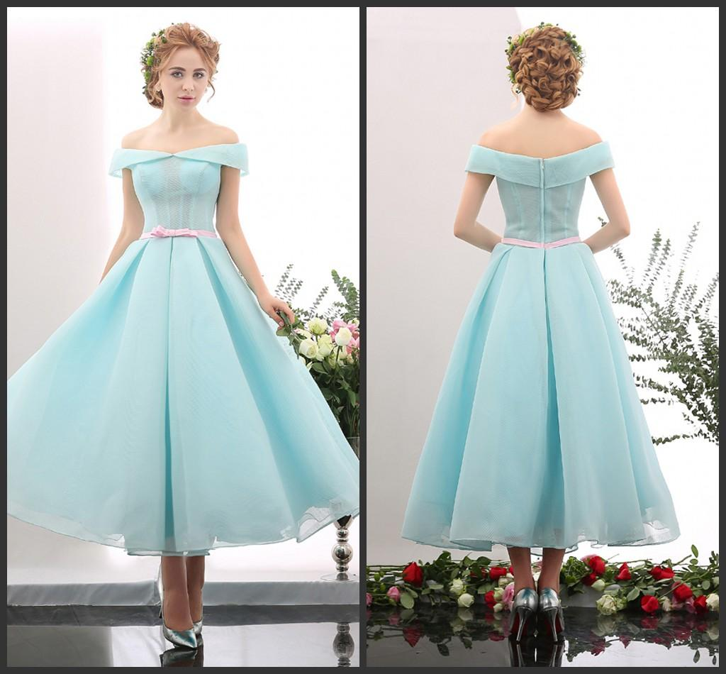Elegeant Mint Green Off Shoulder Ribbon Dresses Prom Girl Ankle ...