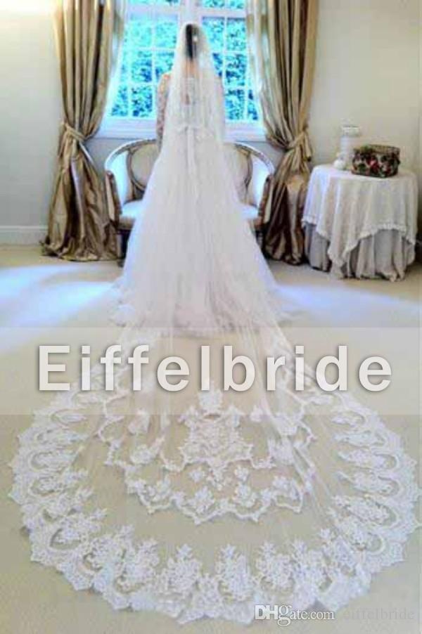 Custom Made White Lace Wedding Veils 2016 z Eifflebride z upiększoną wspaniałą aplikacją około 3 metr katedry Długie welony ślubne