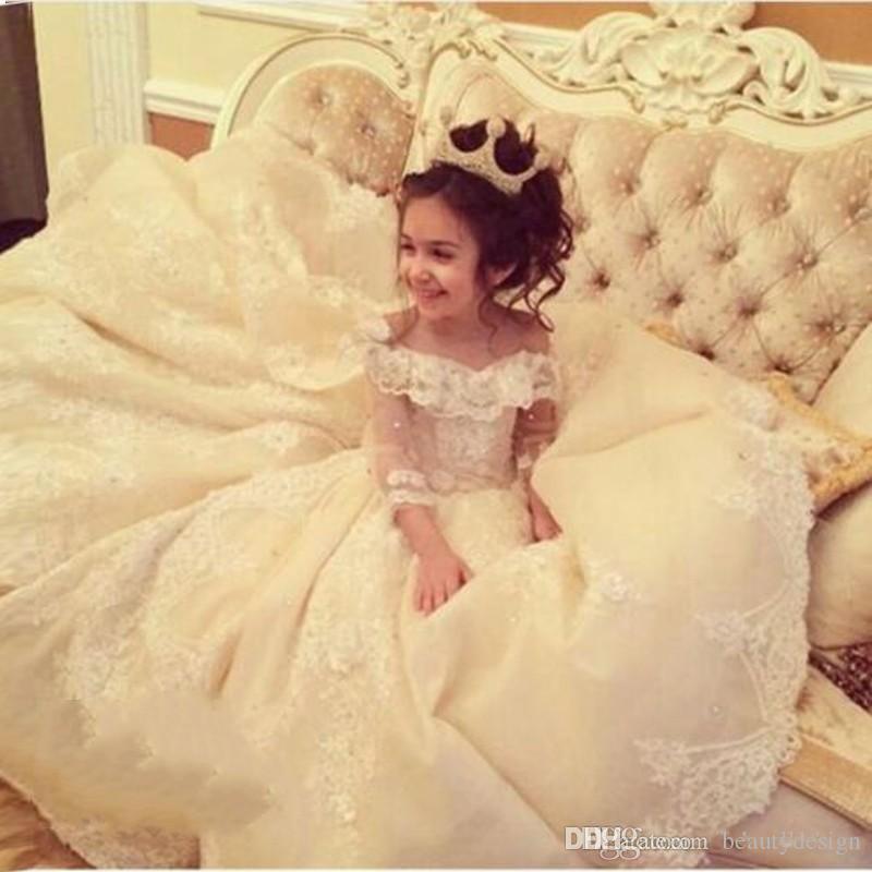 Prinzessin Weg Von Der Schulter Ballkleid Blumenmädchenkleider Für Besondere Anlässe Für Hochzeiten Bodenlangen Kinder Pageant Kleider Kommunion Kleid