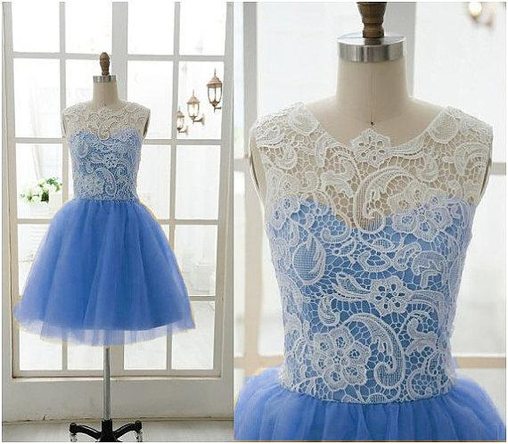 Short Lace Prom Dresses 2016 Jewel Covered Buttons A line Blue Tulle Special Party Homecoming Dress Custom made