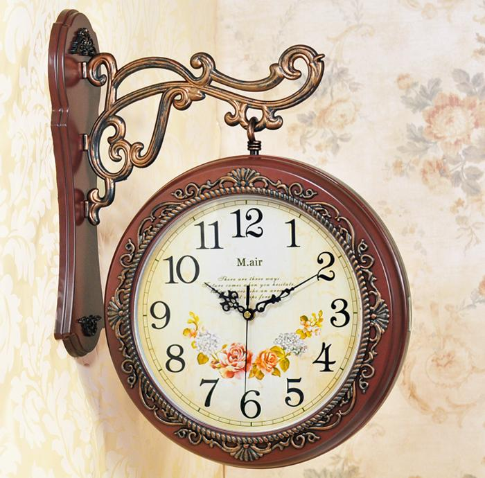 Living Room Clocks Part - 20: Vintage Wall Clocks European Style Retro Decorative Nostalgic Wall Double  Side Clock Living Room Store Wall Clock Clocks Online Shopping Clocks Sale  From ...