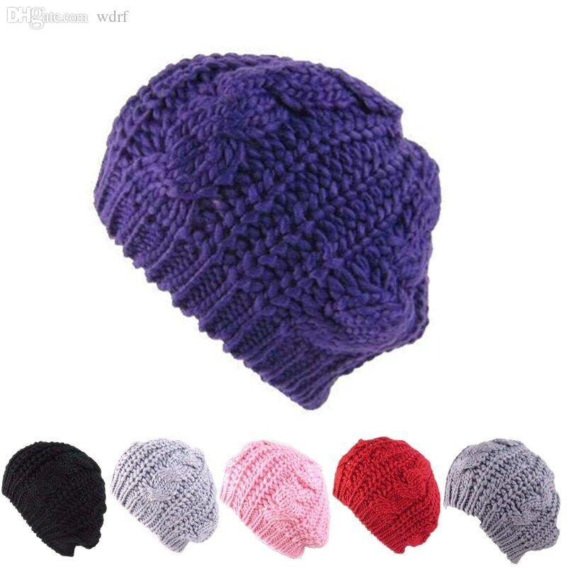 2cd49a192ea 2019 Wholesale Women S Hats Knitted Beret Wool Winter Cap Women Purple Hat  Female Winter And Autumn Casual Outdoor Warm Solid Color Hats From Wdrf