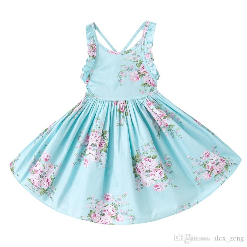 Girls Vintage Floral Toddler Dress Ruffles sleeve Backless Blue pink printed baby girls summer dress Boutique girls Clothes 1-12Y