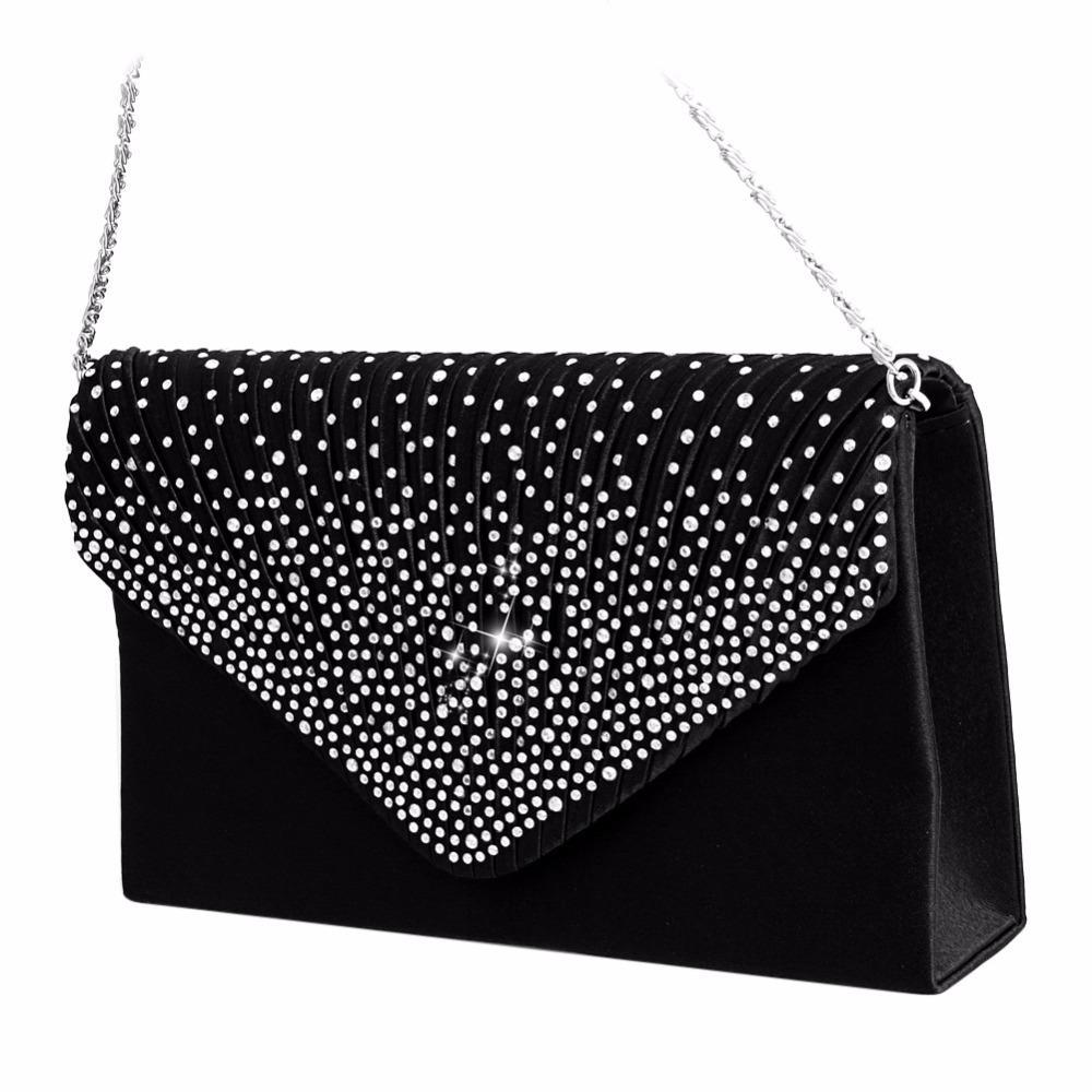 2017 роскошные блестящие сумки большой конверт клатч блеск дамы свадебные сумки вечерние сумки для женщин партии черный кошелек Handba