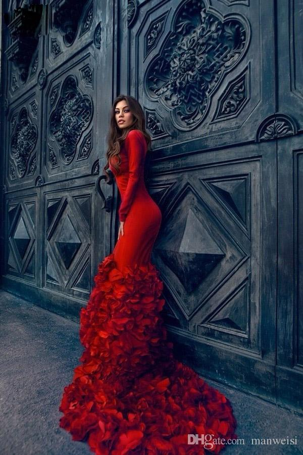 Lange mouwen avondjurken v-hals tiered ruches rode prom jurken sweep trein lente snelle verzending bruiloft formele feestjurk