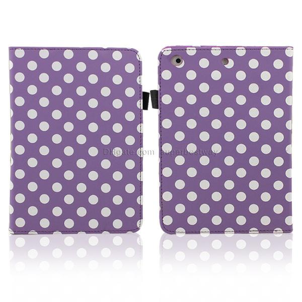 Smart Cover for Ipad 2 3 4 5 ipad air ipad Mini retina Magnetic Case 9.7 inch Tablet Fold Polka Dots Leather Wallet Case Cover dhl PCC048