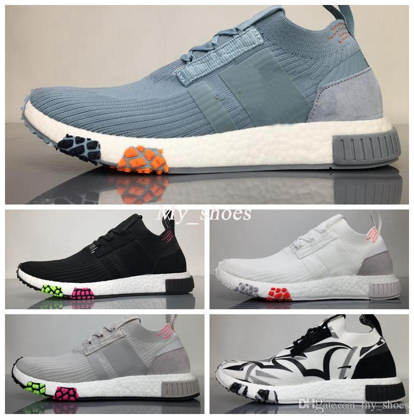 Boost Finishing NMD Racer Primeknit 2018 Runner Shoes Primeknit Upper While  the Full-length NMD Boost in Sky Blue, Grey, Triple White Primeknit 2018  Running ...