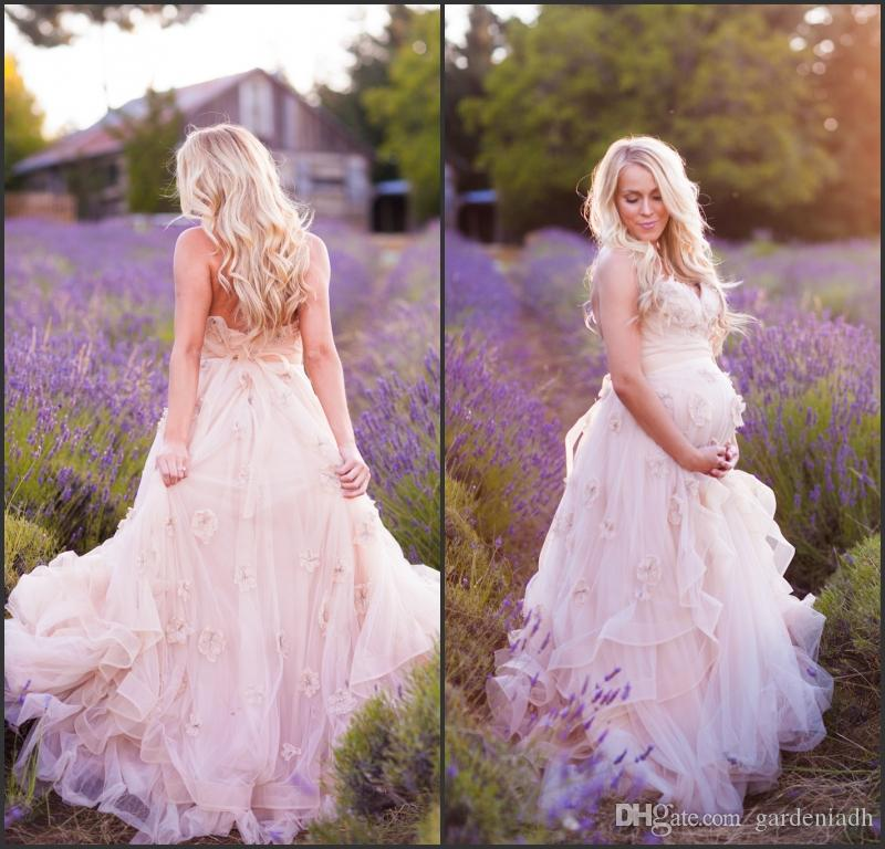 Pastel Colored Wedding Gowns: Discount Pastel Flower Maternity Wedding Dresses From