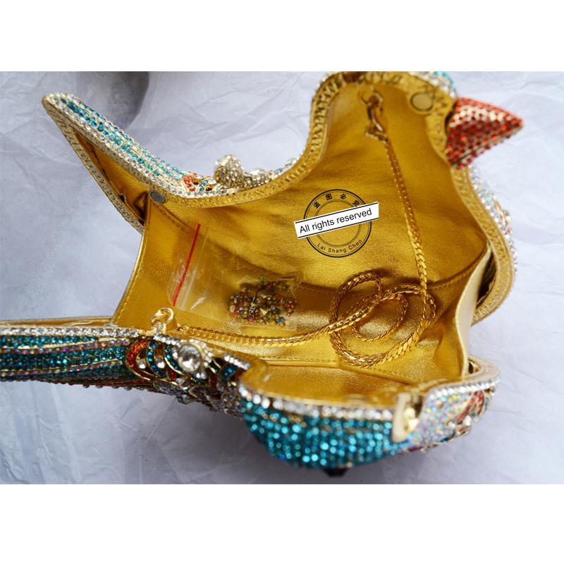 2016 popüler lüks akşam çanta Sparkly Kristal kadın Debriyaj çanta Renkli Kuş desen Bayanlar yemeği çanta Kavramalar çanta SC035