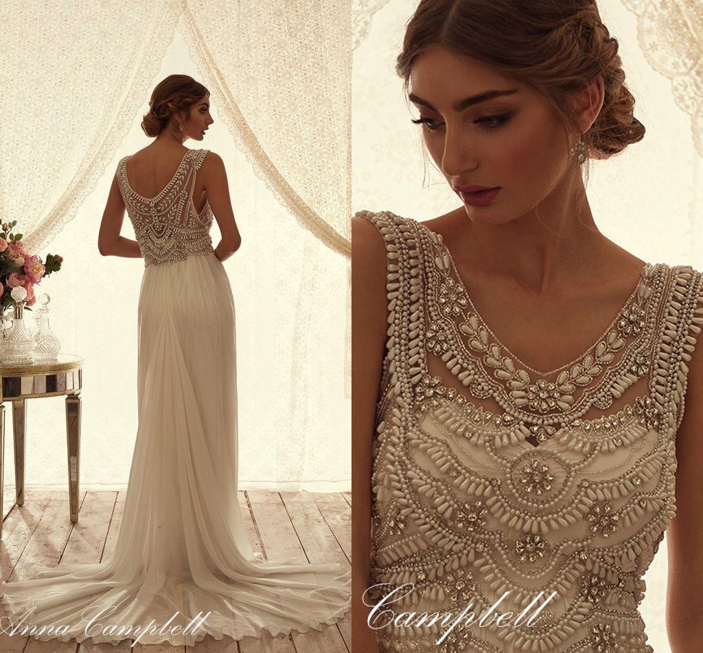 Anna Campbell Wedding Gowns: Anna Campbell 2015 Chiffon Wedding Dresses V Neck Beading