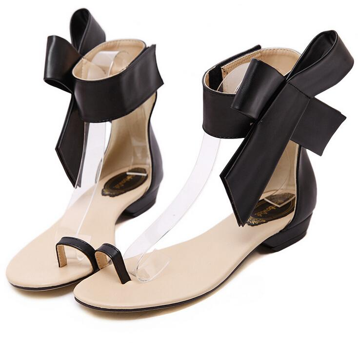 e4057ddd196f Women Sandals 2015 Shoes Summer Style Big Bow Thong Gladiator Fashion  Sandalias Women S Flat Sandals Bowtie Size 35 40 Sandals High Heels From  Alina87