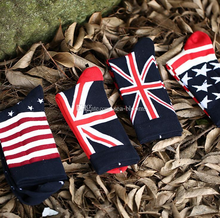 2014 새로운 패션 미국 영국 깃발 양말 긴 양말 여성 양말 스포츠 양말 망 여성 패션 드레스 양말 핫 세일 크리스마스 선물 A382X