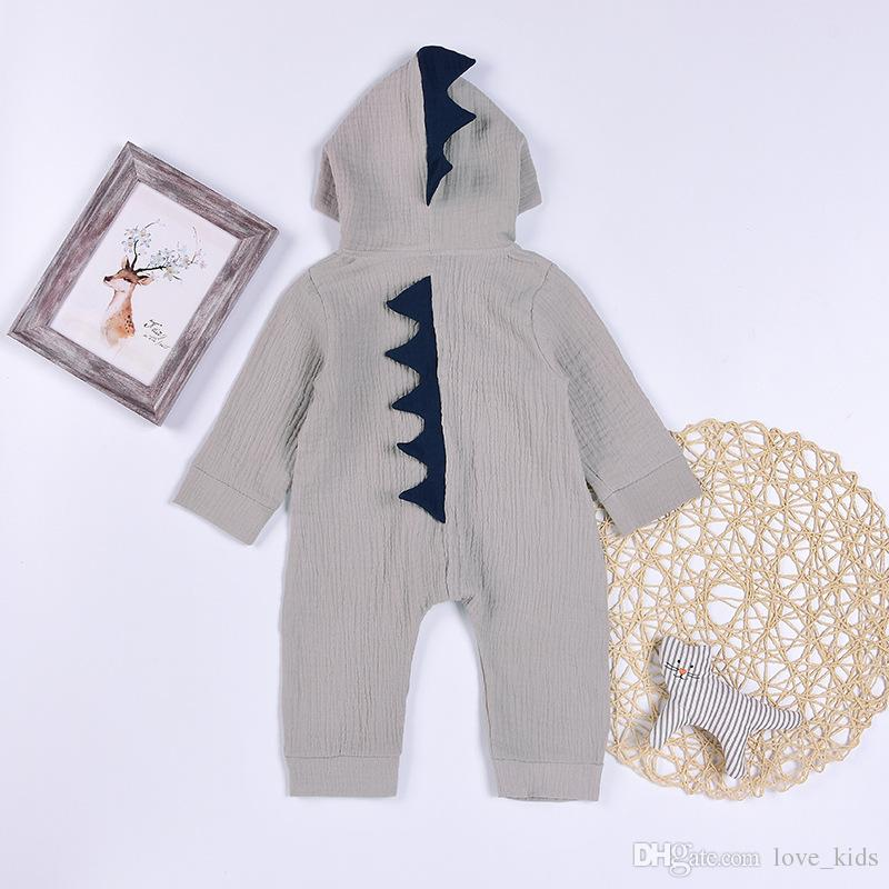 Baby dinosaur Romper Long sleeve Hooded zipper Jumpsuits cartoon kids climbing clothing baby clothes top quality