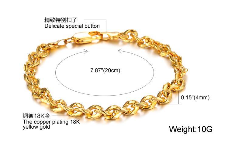 Gros bracelet en or jaune 18 carats des femmes chaîne gourmette largeur 4 mm lien bijoux GF